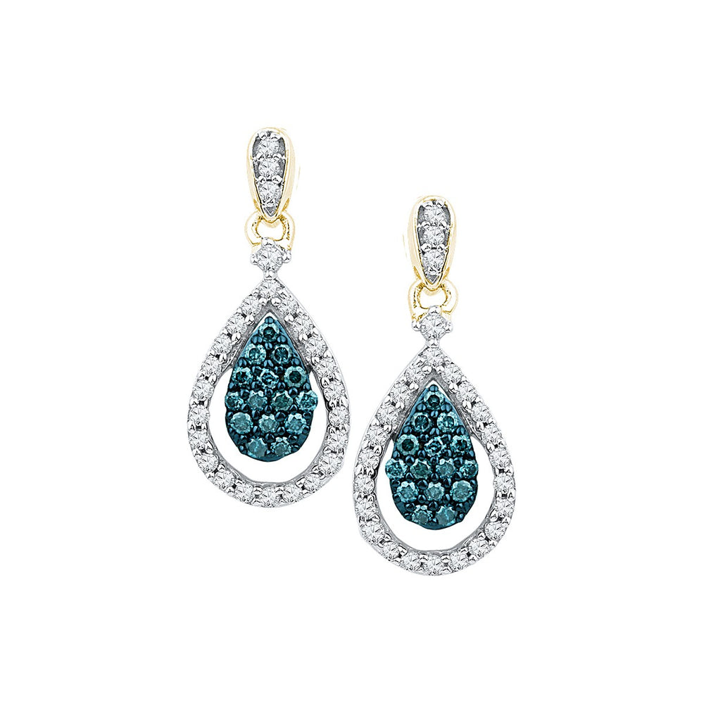 10kt Yellow Gold Womens Round Blue Color Enhanced Diamond Teardrop Dangle Earrings 5/8 Cttw