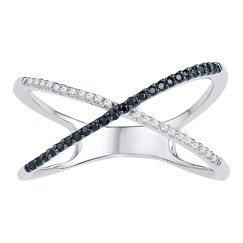 Sterling Silver Womens Black Color Enhanced Diamond Crossover Band Ring Slender 1/6 Cttw