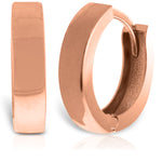 14K Solid Rose Gold Slim Huggie Earrings