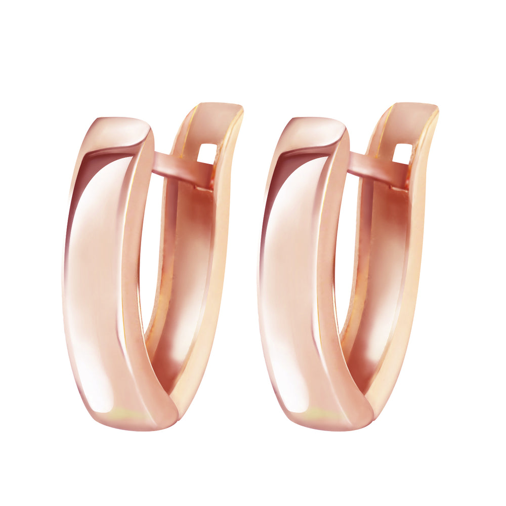 14K Solid Rose Gold Grace Huggie Earrings