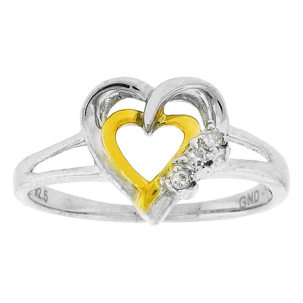 Two-tone Sterling Silver Womens Round Diamond Double Heart Ring .03 Cttw Size 6