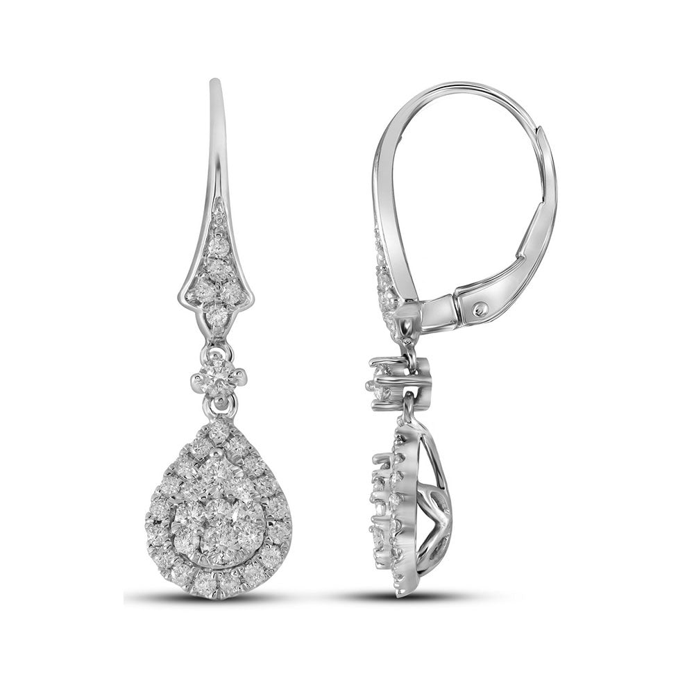 14kt White Gold Womens Round Diamond Teardrop Cluster Dangle Earrings 3/4 Cttw