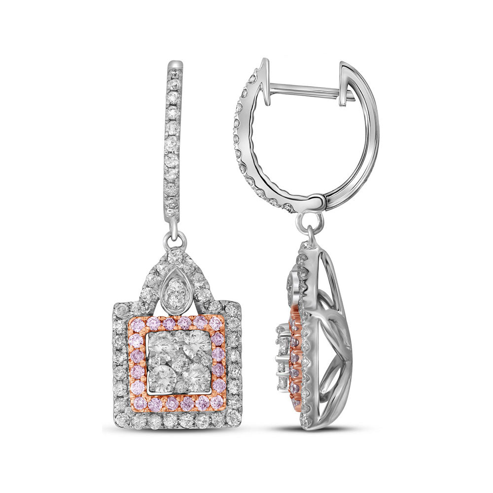 14kt White Gold Womens Round Pink Diamond Square Cluster Dangle Earrings 1.00 Cttw