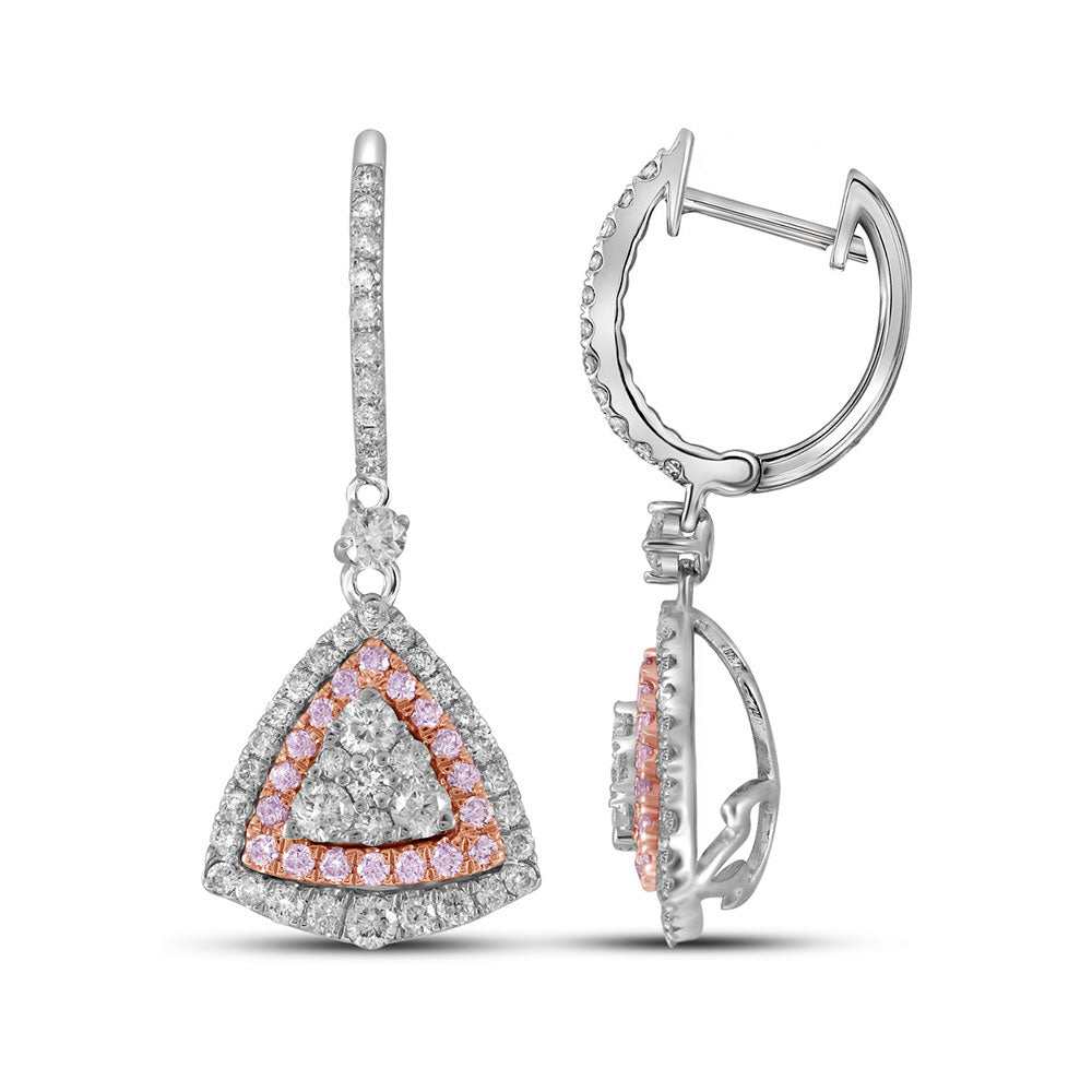 14kt White Gold Womens Round Pink Diamond Triangle Dangle Earrings 1-1/2 Cttw