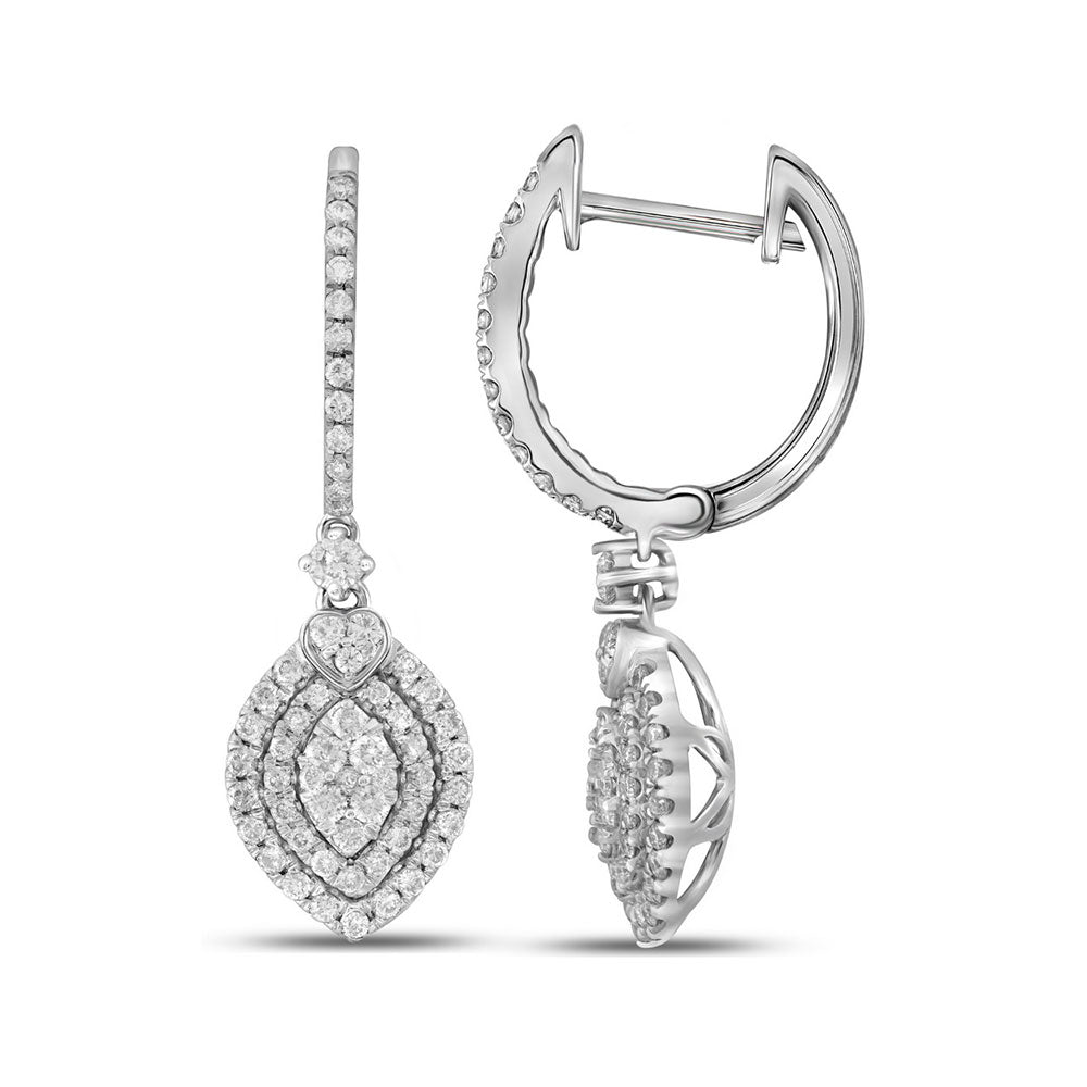 14kt White Gold Womens Round Diamond Double Oval Frame Dangle Earrings 1.00 Cttw