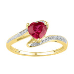 10kt Yellow Gold Womens Heart Lab-Created Ruby Solitaire Diamond-accent Ring 1.00 Cttw - Size 11