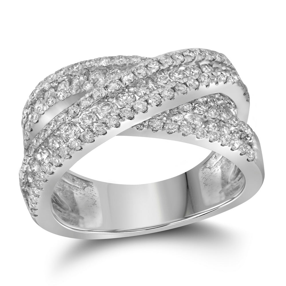 14kt White Gold Womens Round Pave-set Diamond Crossover Cocktail Band 1-7/8 Cttw