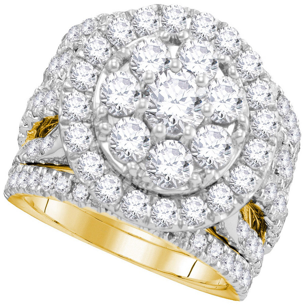 14kt Yellow Gold Womens Round Diamond Certified Halo Bridal Wedding Engagement Ring Band Set 4.00 Cttw