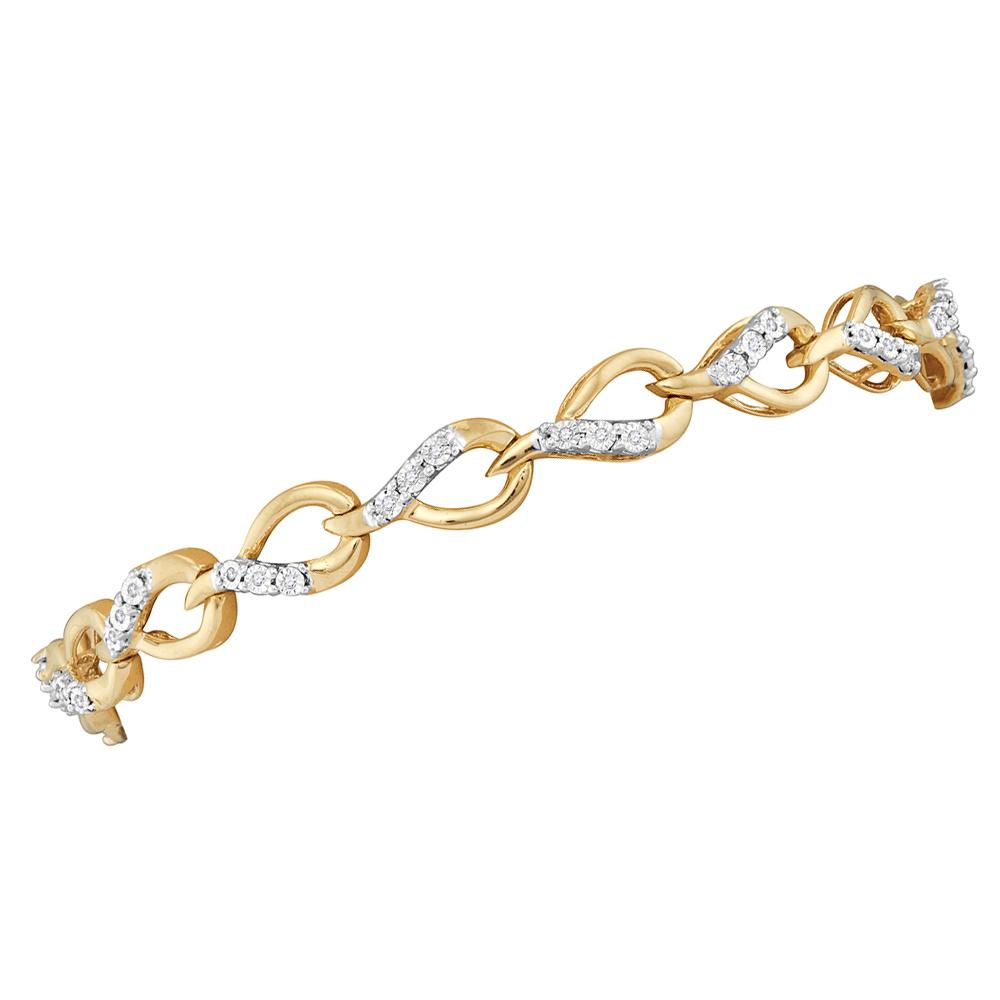 10kt Yellow Gold Womens Round Diamond Linked Teardrop Tennis Bracelet 1/6 Cttw