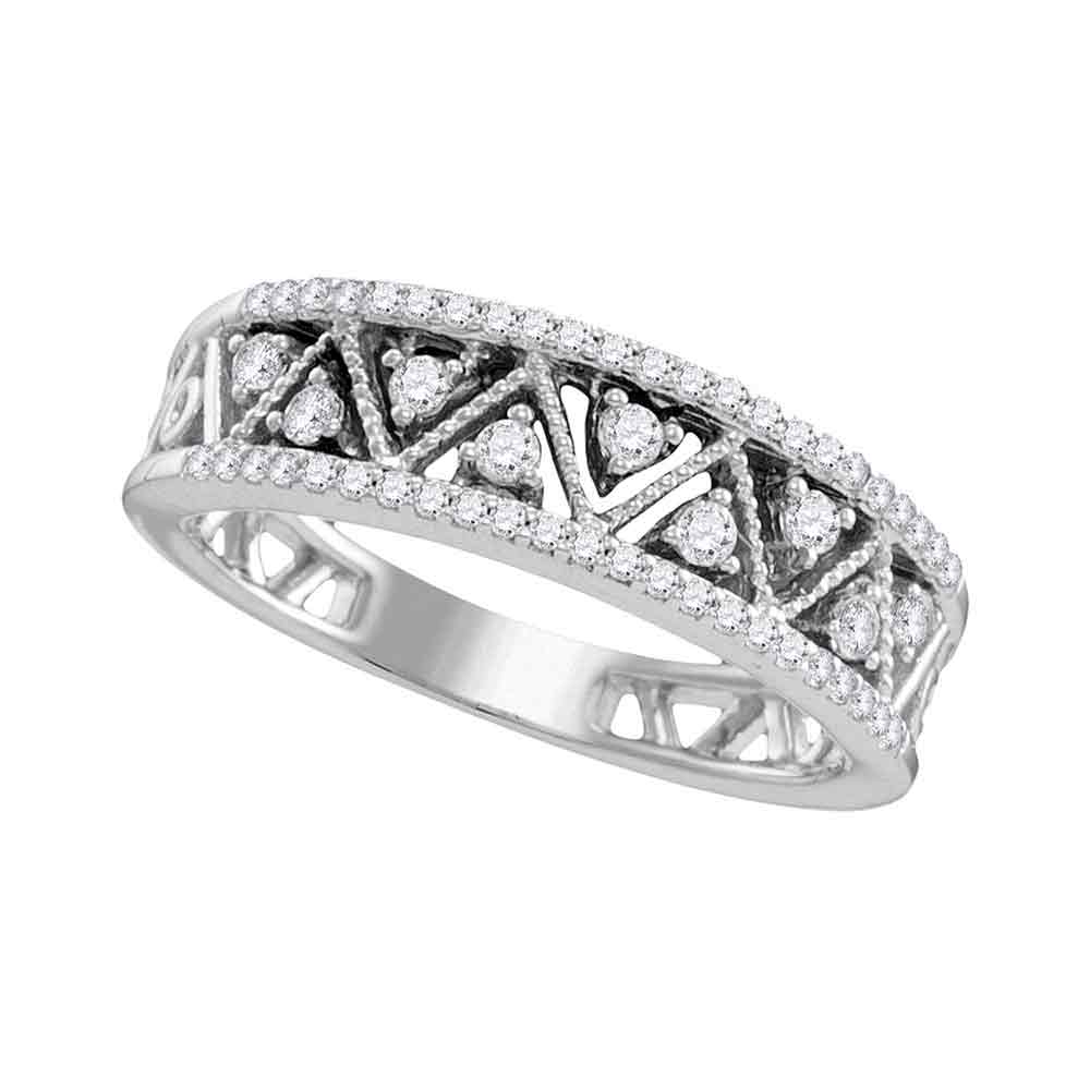 10kt White Gold Womens Round Diamond Geometric Band Ring 7/8 Cttw