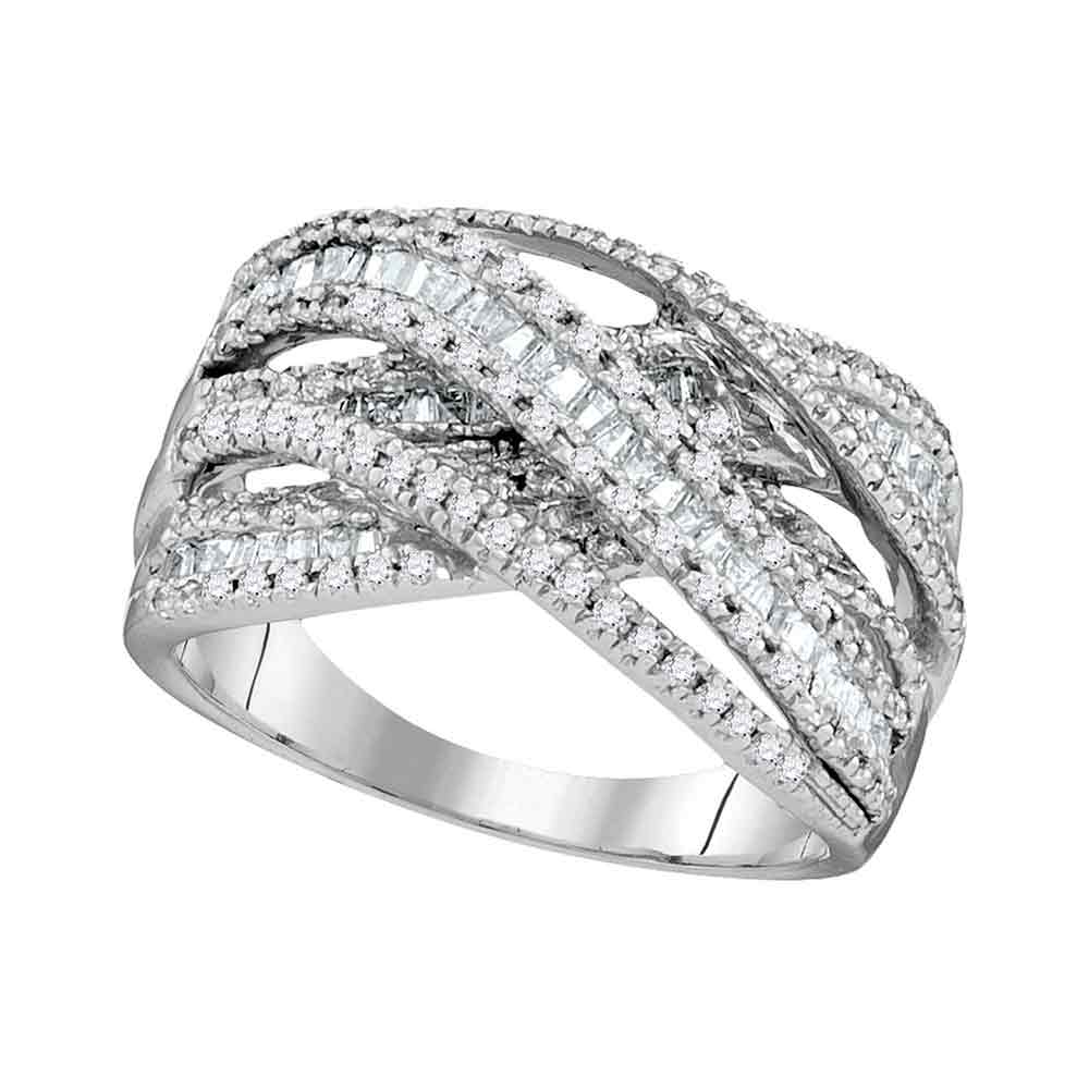 10kt White Gold Womens Round Baguette Diamond Crossover Fashion Band Ring 1.00 Cttw