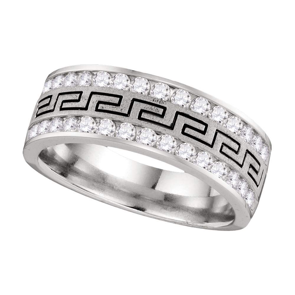 14kt White Gold Mens Round Diamond Double Row Grecco Greek Key Wedding Band 1.00 Cttw