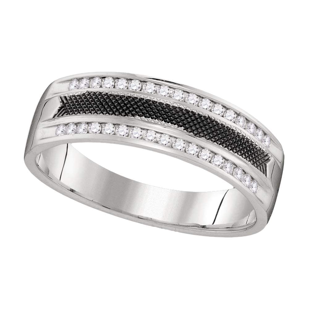14kt White Gold Mens Round Diamond Black-tone Wedding Anniversary Band Ring 1/4 Cttw