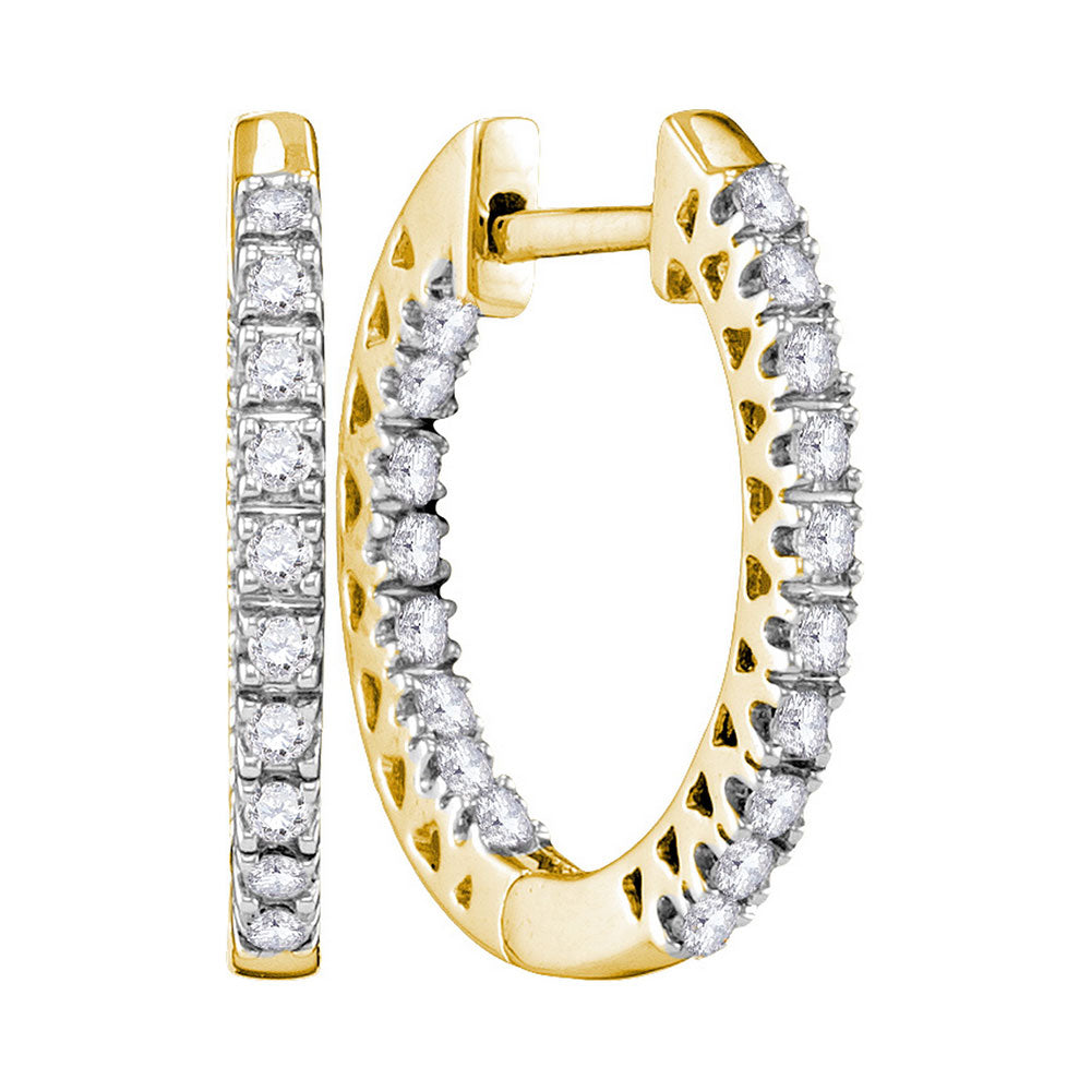 10kt Yellow Gold Womens Round Diamond Slender Hoop Earrings 1/4 Cttw