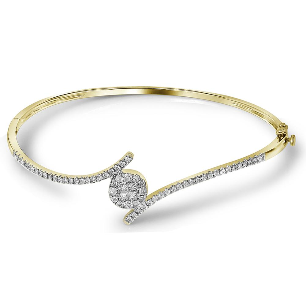 14kt Yellow Gold Womens Princess Round Diamond Soleil Bangle Bracelet 3/4 Cttw