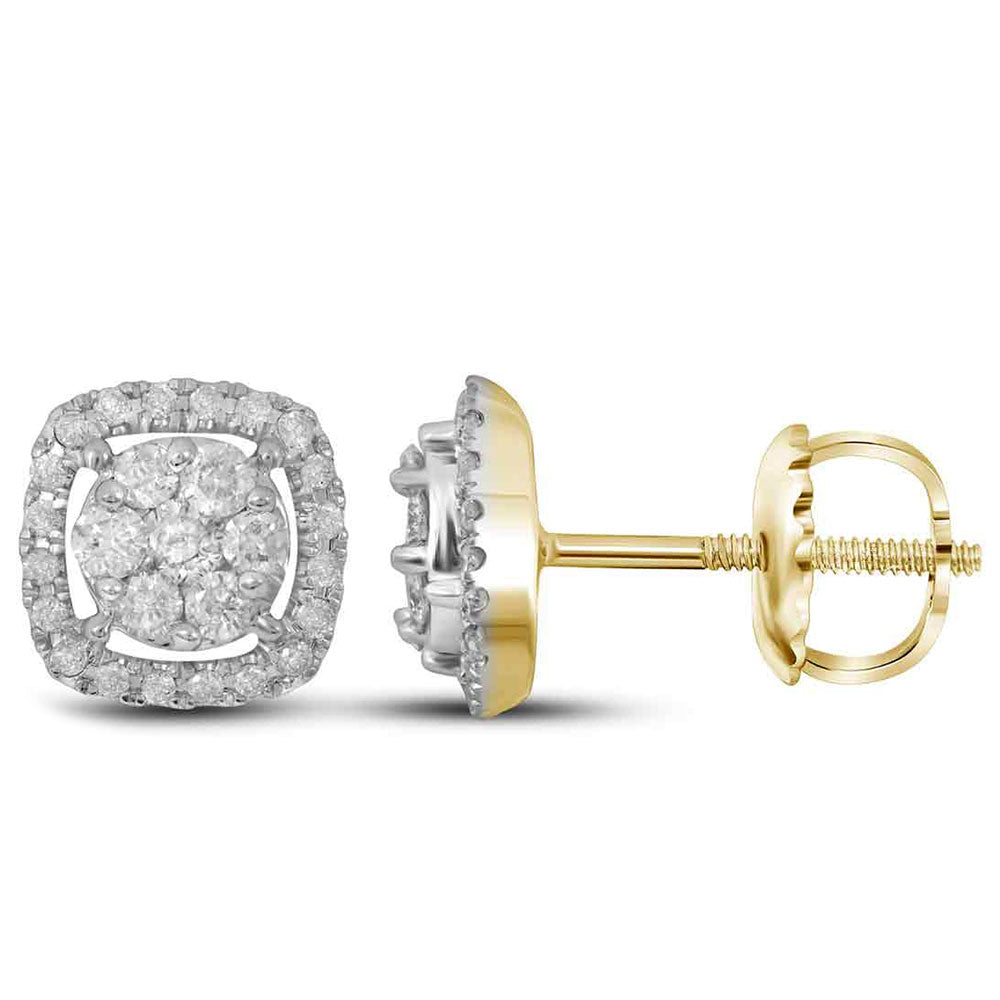 14kt Yellow Gold Womens Round Diamond Flower Cluster Square Frame Earrings 3/8 Cttw