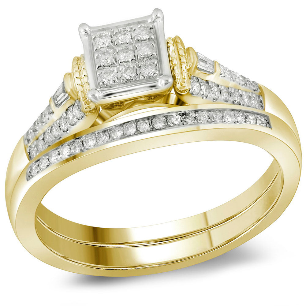 Womens 14K Yellow Gold Baguette Diamond Bridal Wedding Engagement Ring Set 1/5CT