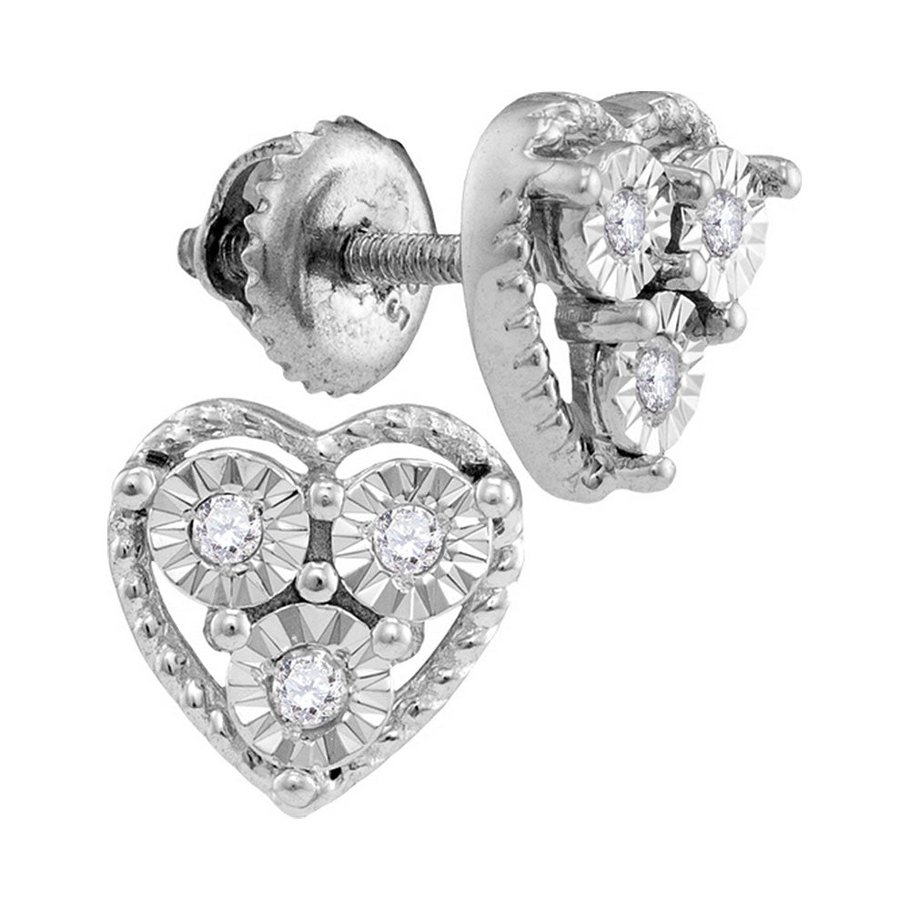 Sterling Silver Womens Round Diamond Heart Frame Screwback Earrings 1/20 Cttw
