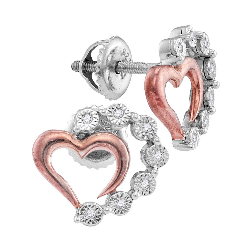 Sterling Silver Womens Round Diamond Rose-tone Heart Stud Earrings 1/20 Cttw