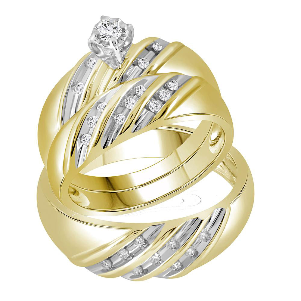 14kt Yellow Gold His & Hers Round Diamond Round Matching Bridal Wedding Ring Band Set 1/4 Cttw