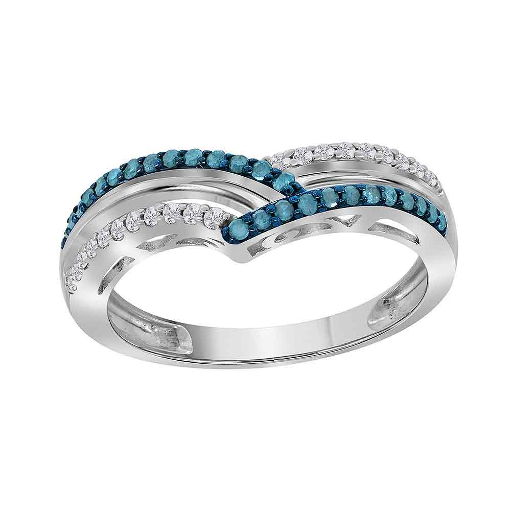 Sterling Silver Womens Round Blue Color Enhanced Diamond Band Ring 1/4 Cttw