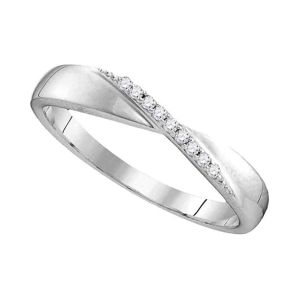 Sterling Silver Womens Round Diamond Crossover Single Row Band 1/20 Cttw