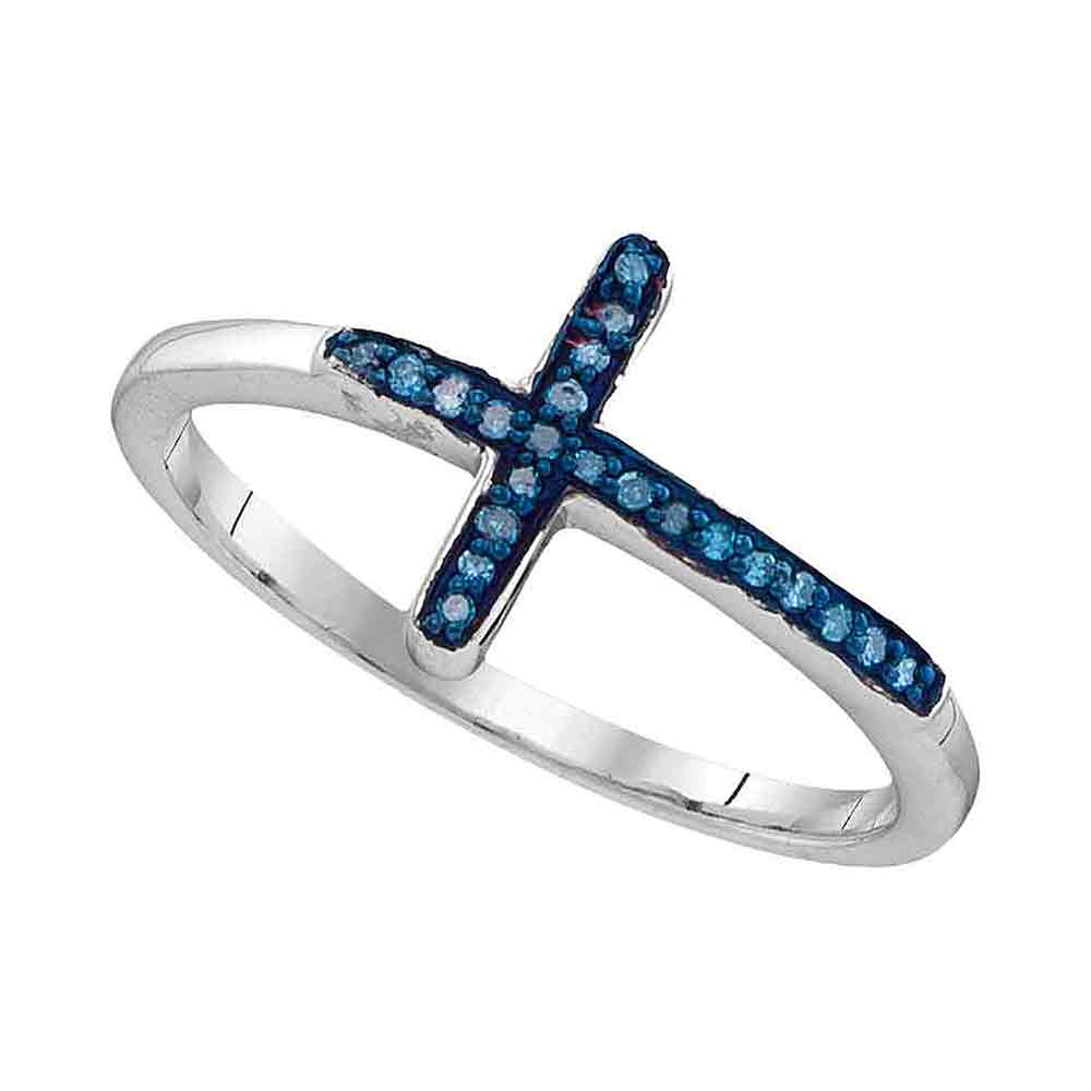 Sterling Silver Womens Round Blue Color Enhanced Diamond Christian Cross Fashion Ring 1/20 Cttw