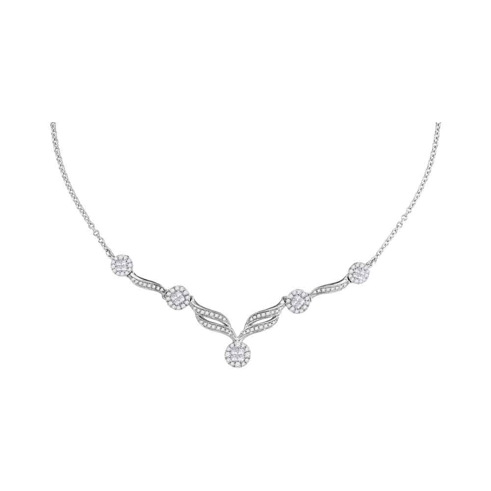"14kt White Gold Womens Princess Diamond Soleil Cluster Luxury 18"" Necklace 1.00 Cttw"