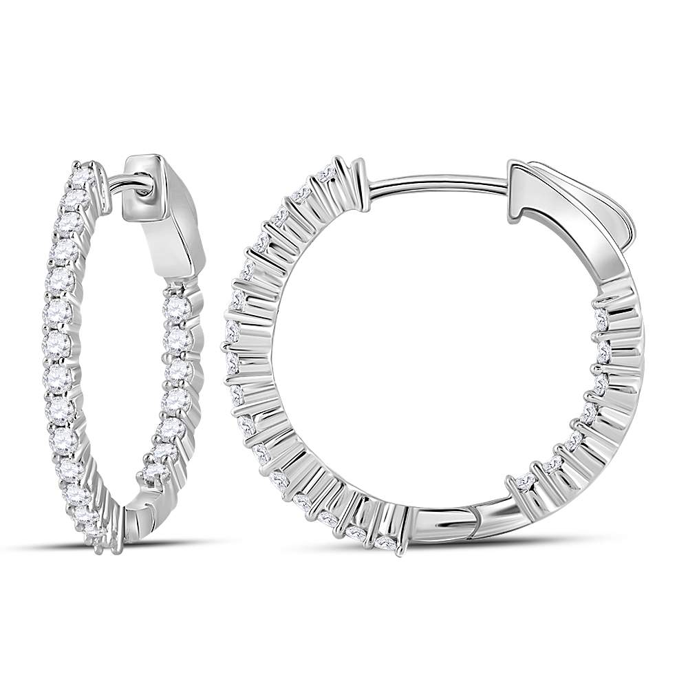 10kt White Gold Womens Round Diamond Single Row Hoop Earrings 1-3/8 Cttw