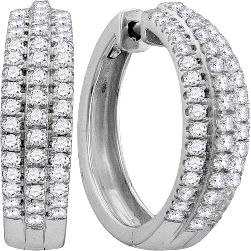 10kt White Gold Womens Round Diamond Hoop Fashion Earrings 1.00 Cttw