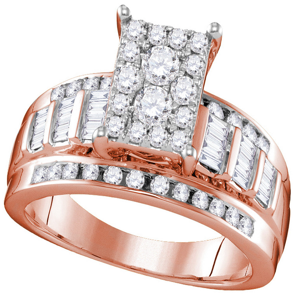 10kt Rose Gold Womens Round Diamond Cluster Bridal Wedding Engagement Ring 7/8 Cttw