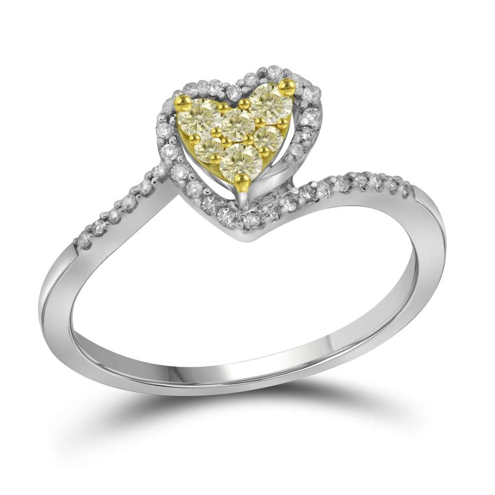 10kt White Gold Womens Round Yellow Color Enhanced Diamond Heart Ring 1/4 Cttw
