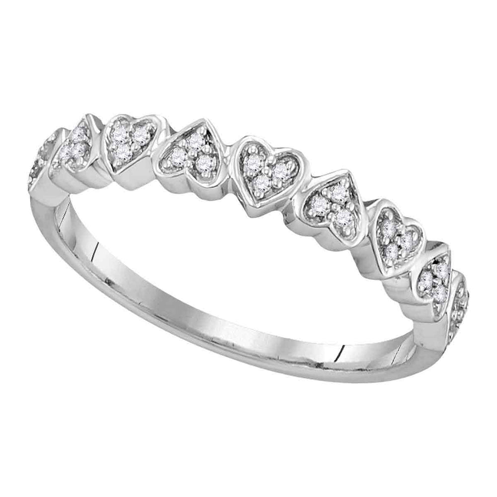 10kt White Gold Womens Round Diamond Heart Love Ring 1/10 Cttw
