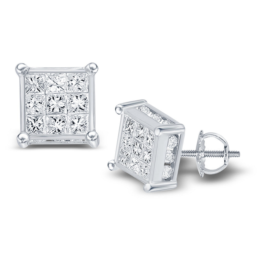 14kt White Gold Womens Princess Diamond Cluster Stud Earrings 7/8 Cttw