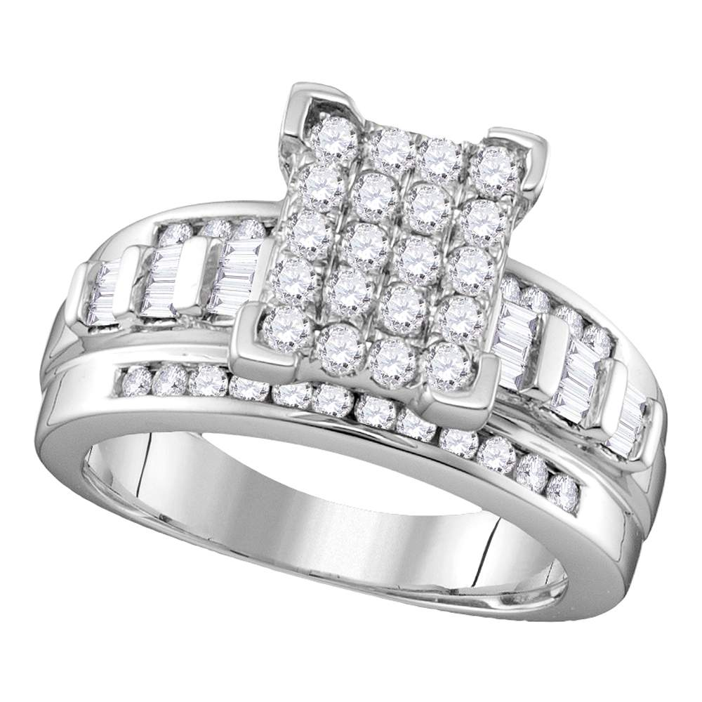 Sterling Silver Womens Round Diamond Rectangle Cluster Bridal Wedding Engagement Ring 1/2 Cttw