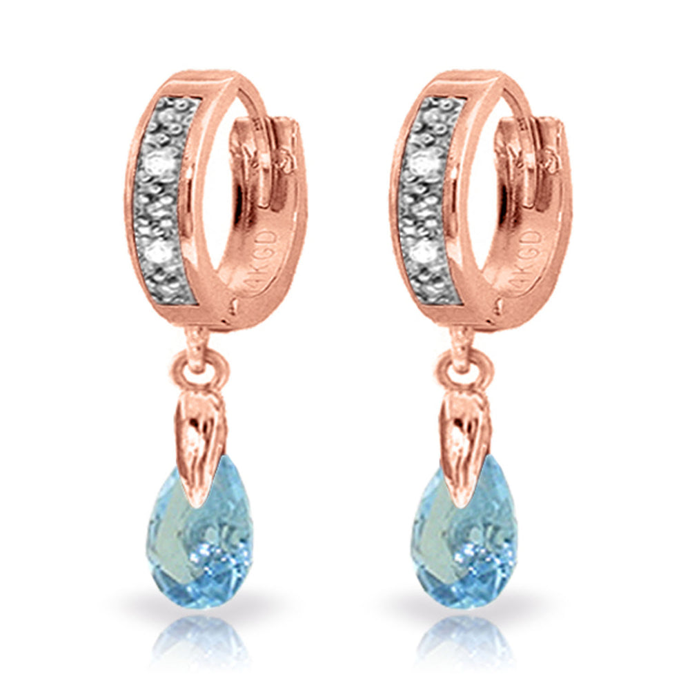 1.37 CTW 14K Solid Rose Gold Hoop Earrings Diamond Blue Topaz