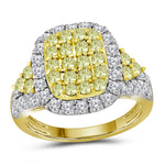14kt Yellow Gold Womens Round Canary Yellow Diamond Rectangle Cluster Ring 1-7/8 Cttw