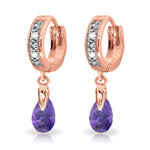 1.37 CTW 14K Solid Rose Gold Hoop Earrings Diamond Amethyst