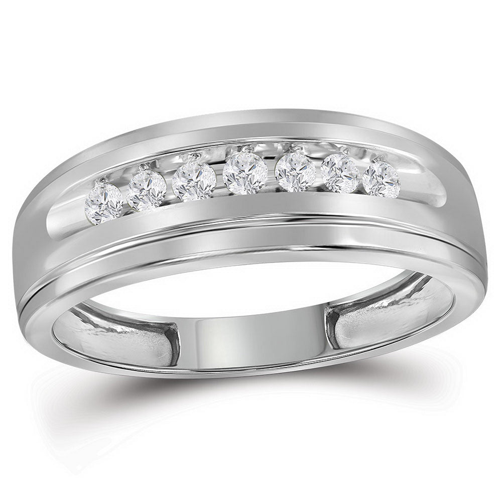 10kt White Gold Mens Round Diamond Wedding Band Ring 1/4 Cttw