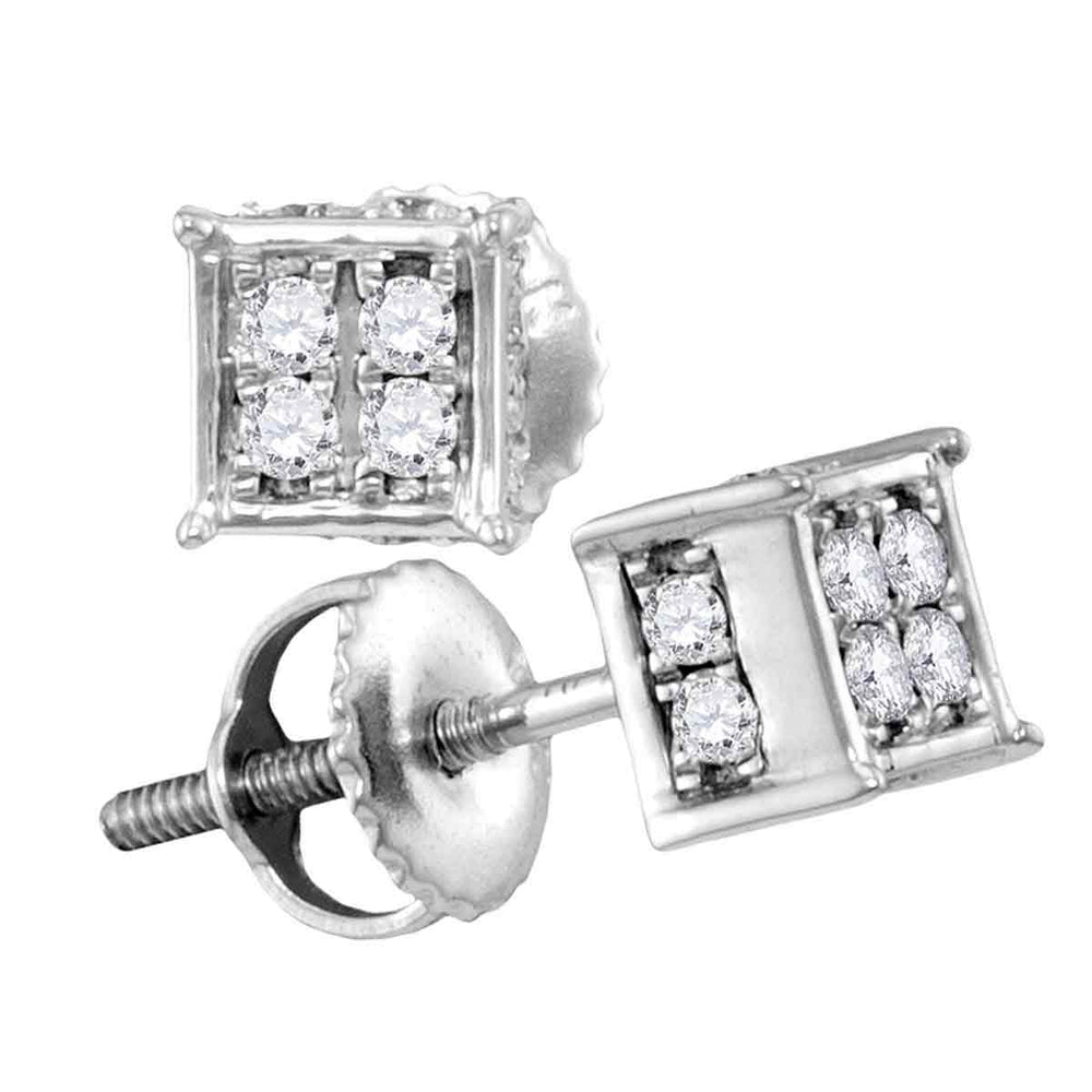 10kt White Gold Womens Round Diamond Square Cluster Screwback Earrings 1/4 Cttw