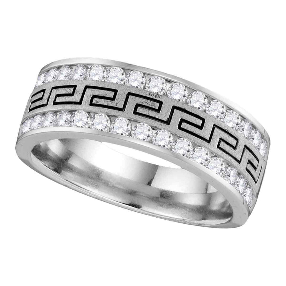 14kt White Gold Mens Round Diamond Grecco Wedding Band Ring 1/4 Cttw