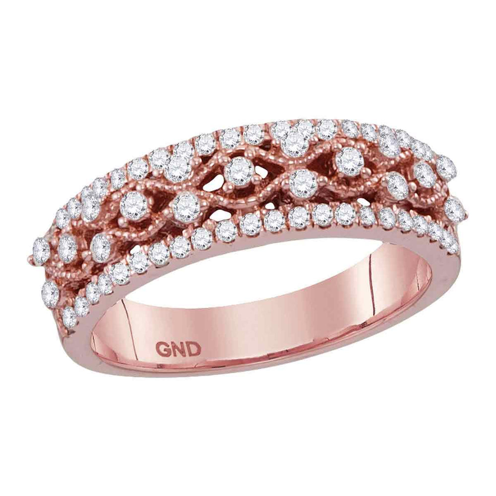 10kt Rose Gold Womens Round Diamond Roped Woven Band Ring 1/2 Cttw