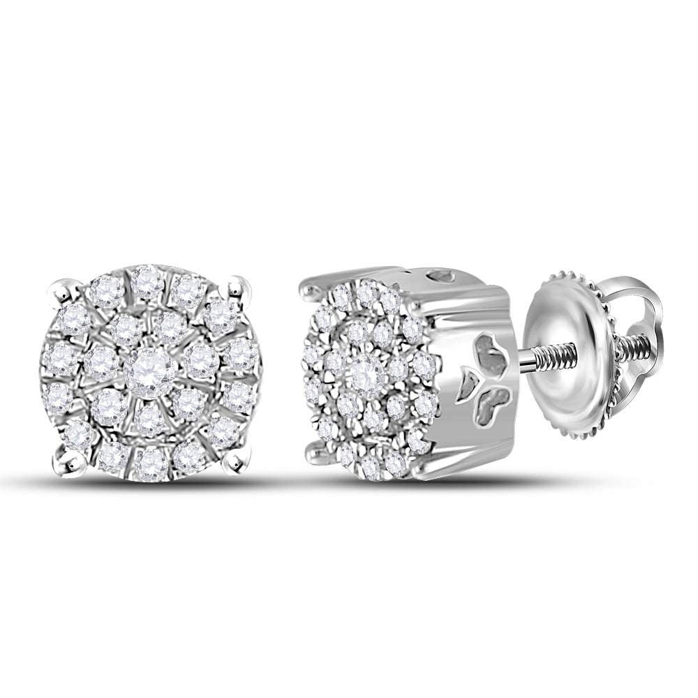 10kt White Gold Womens Round Diamond Cindys Dream Cluster Earrings 1/5 Cttw
