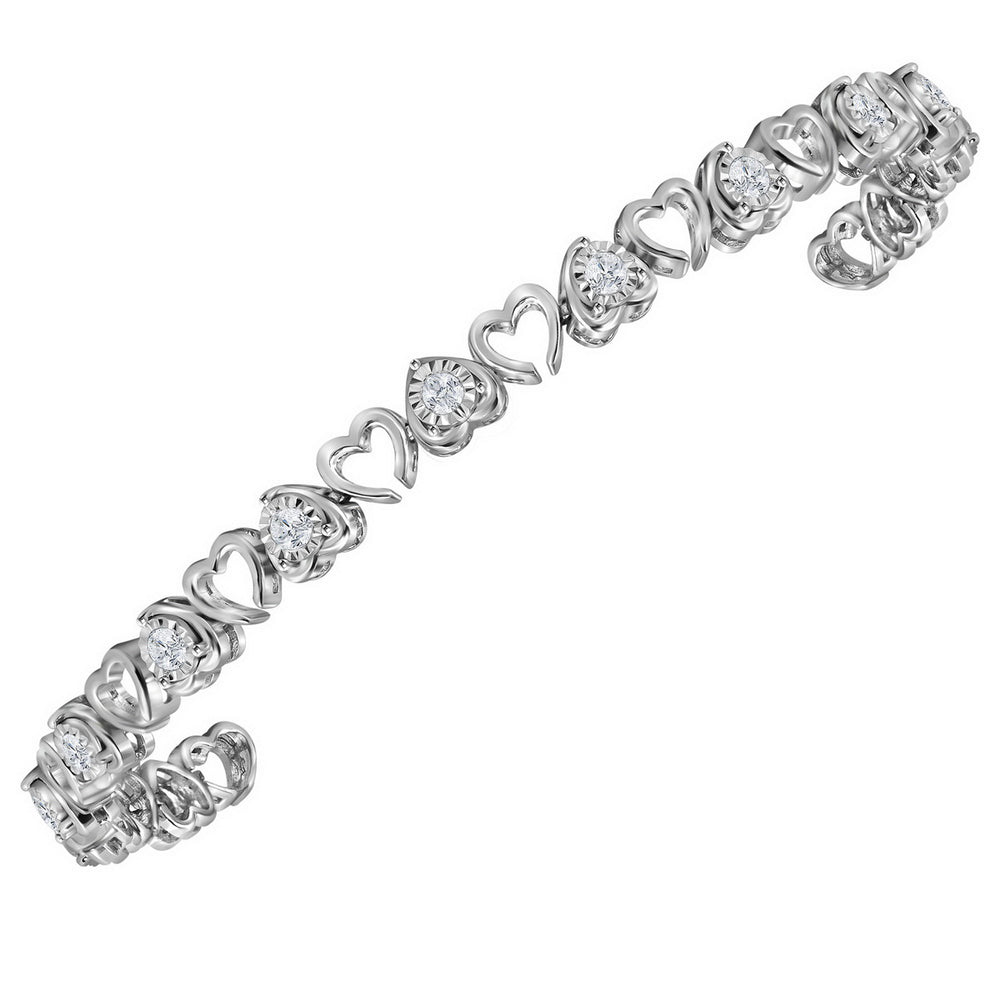 Sterling Silver Womens Round Diamond Heart Love Tennis Bracelet 1.00 Cttw