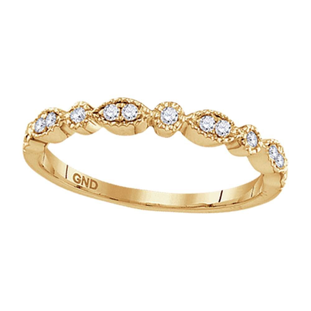10kt Yellow Gold Womens Round Diamond Milgrain Stackable Band Ring 1/6 Cttw