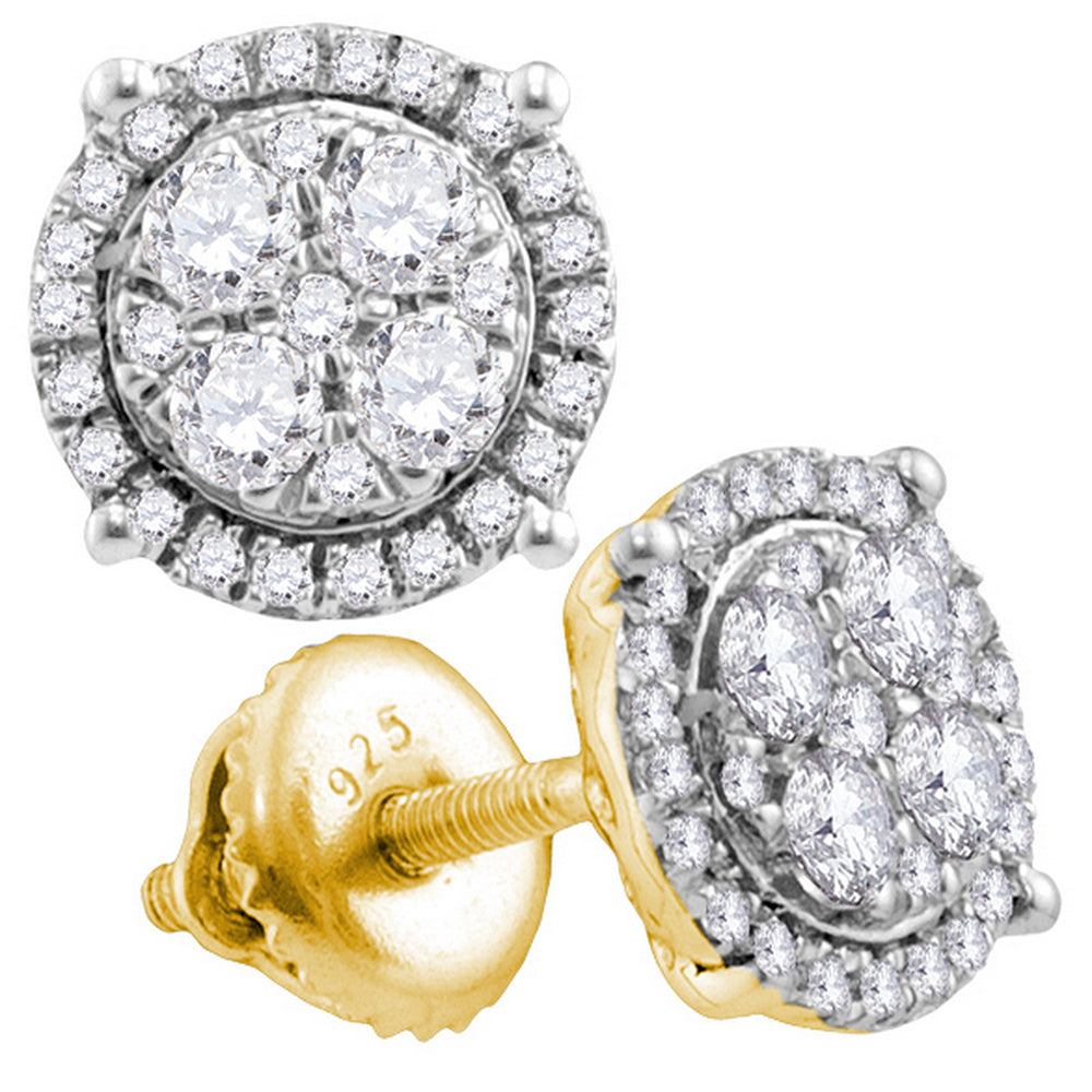 10kt Yellow Gold Womens Round Diamond Circle Cluster Earrings 3/4 Cttw