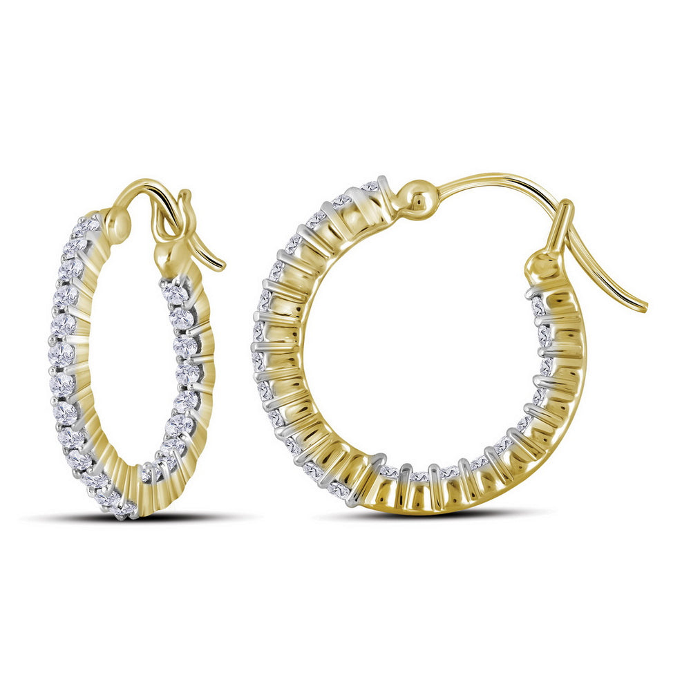 10kt Yellow Gold Womens Round Diamond Single Row Hoop Earrings 1/2 Cttw