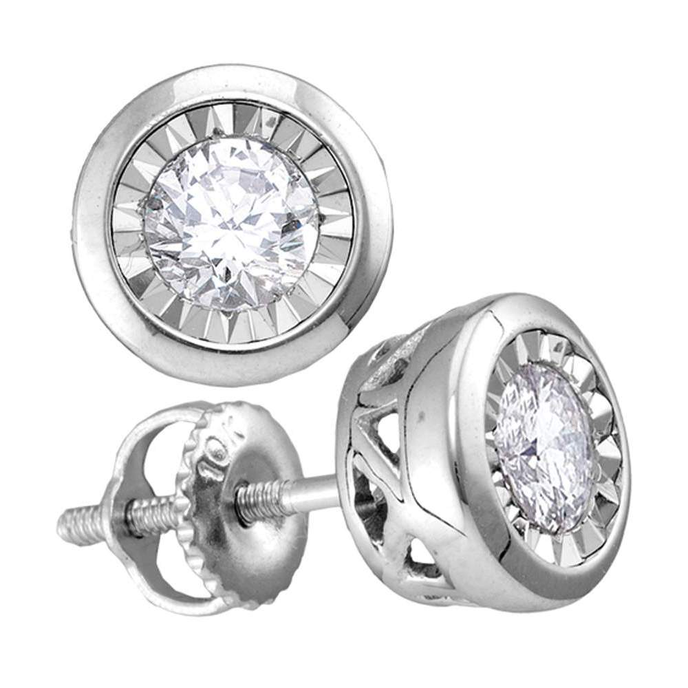 10kt White Gold Womens Round Diamond Solitaire Screwback Stud Earrings 1/10 Cttw