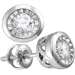 10kt White Gold Womens Round Diamond Solitaire Illusion-set Stud Earrings 1/10 Cttw