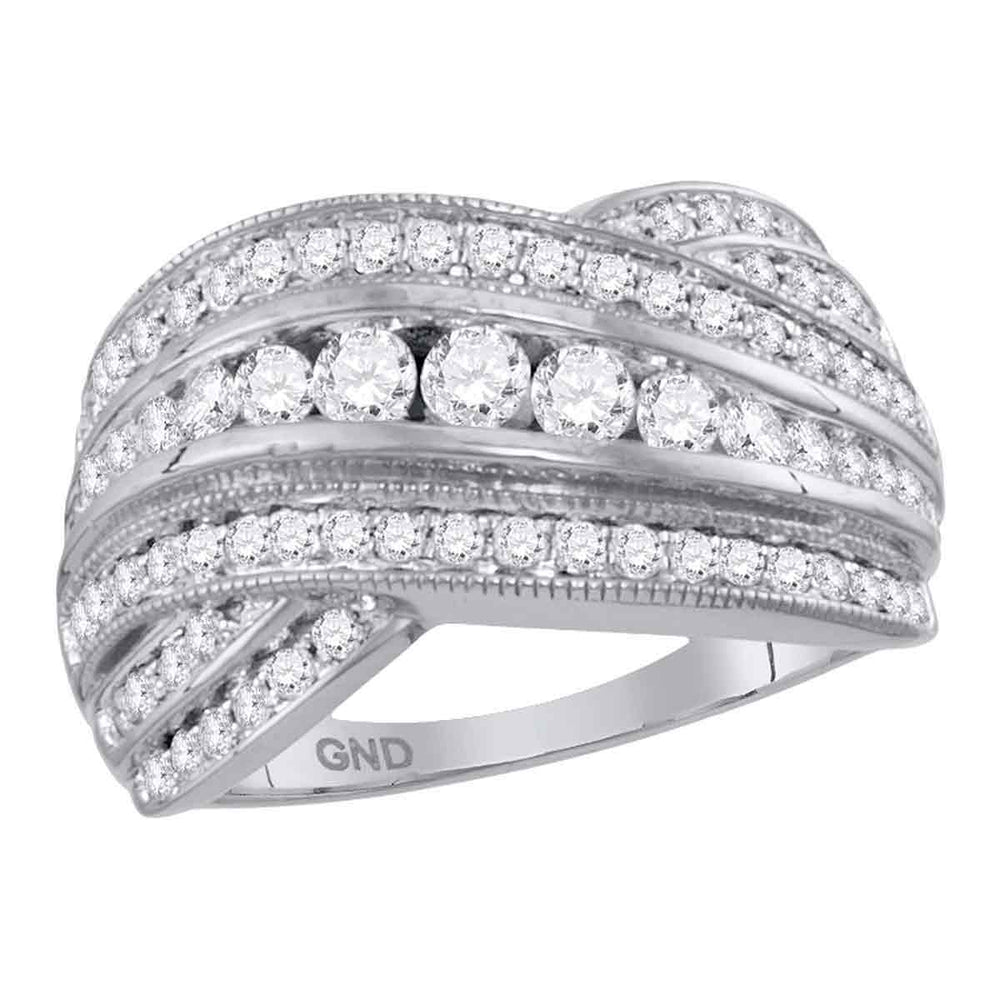 14kt White Gold Womens Round Diamond Crossover Fashion Band Ring 1.00 Cttw
